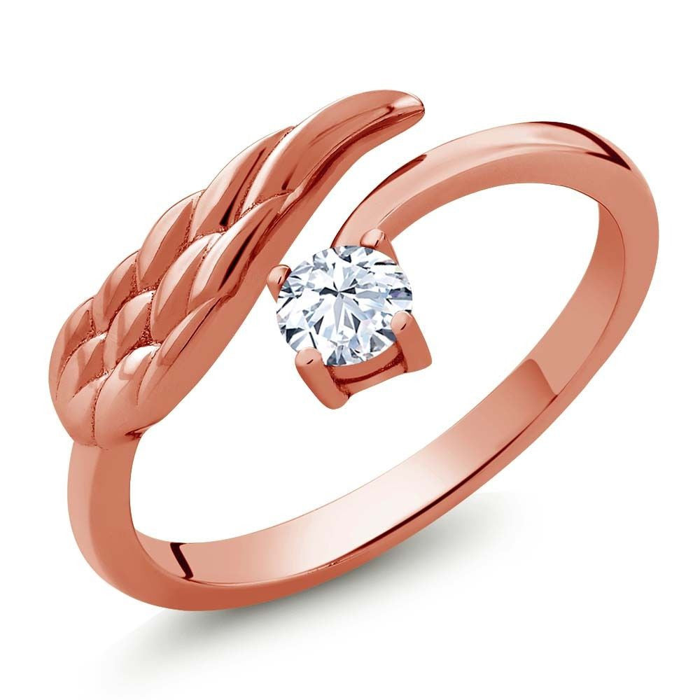White Topaz 18K Rose Gold Plated Silver Wing Ring