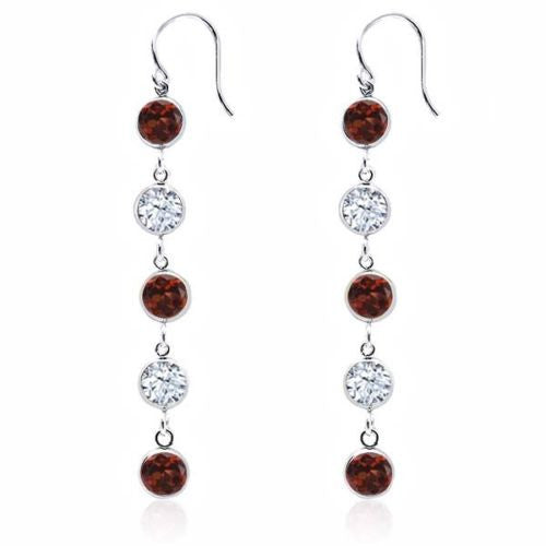 Red Garnet 925 Sterling Silver Earrings