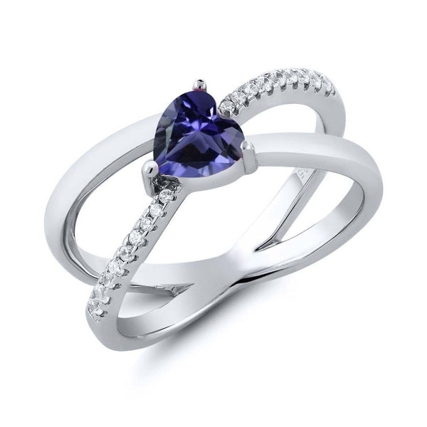 0.76 Ct Heart Shape Blue Iolite 925 Sterling Silver Criss Cross Ring