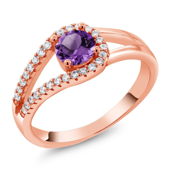 0.80 Ct Round Purple Amethyst 18K Rose Gold Plated Silver Ring