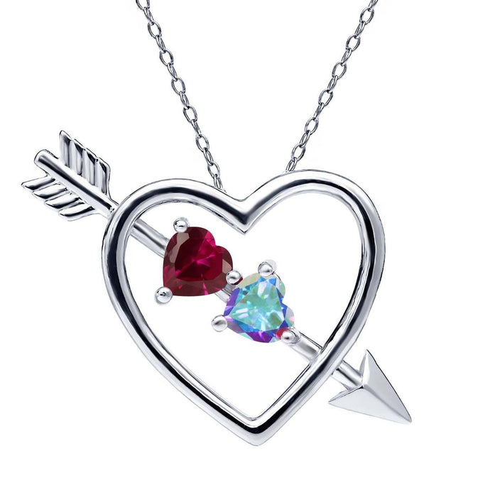 1.16 Ct Created Ruby and Mystic Topaz 925 Silver Heart and Arrow Pendant