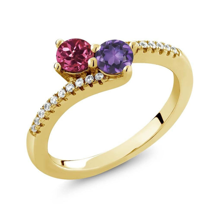 0.72 Ct Pink Tourmaline Amethyst Two Stone 18K Yellow Gold Plated Silver Ring