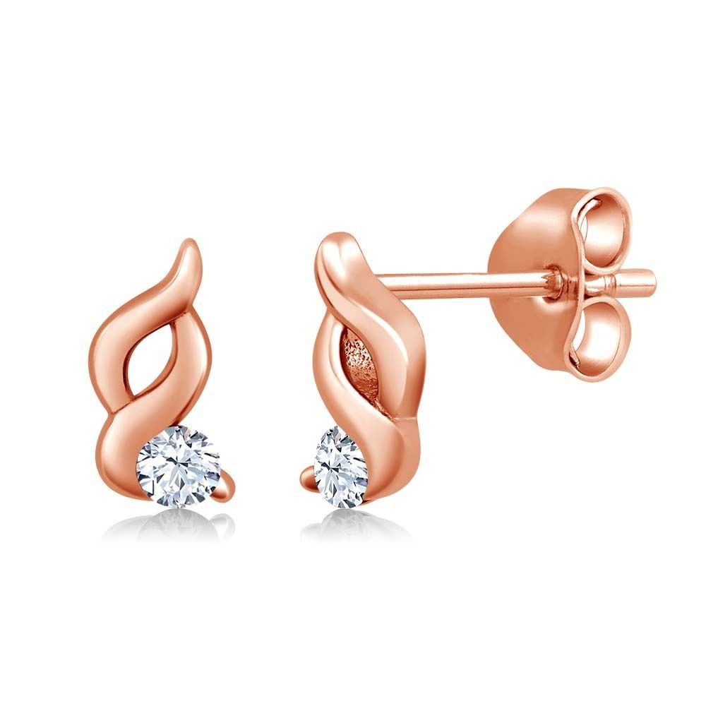 White Created Sapphire 18K Rose Gold Plated Silver Earrings