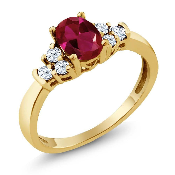 0.82 Ct Oval Red Created Ruby White Topaz 18K Yellow Gold Plated Silver Ring