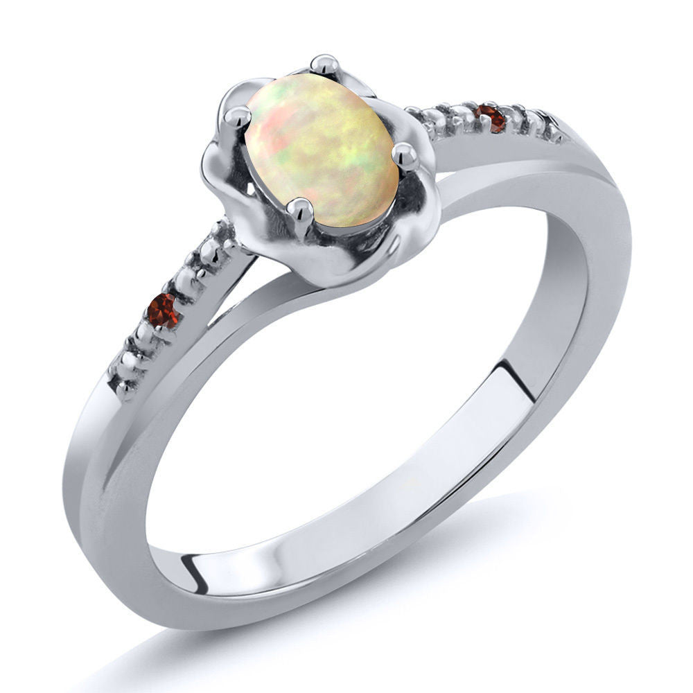 Cabochon White Ethiopian Opal Red Garnet 925 Sterling Silver Ring