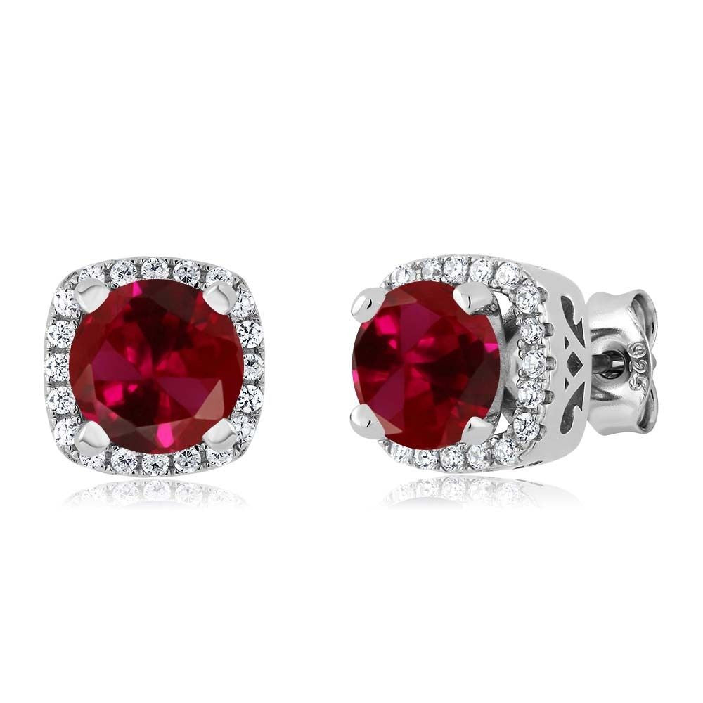 2.48 Ct Round Red Created Ruby 925 Sterling Silver Earrings