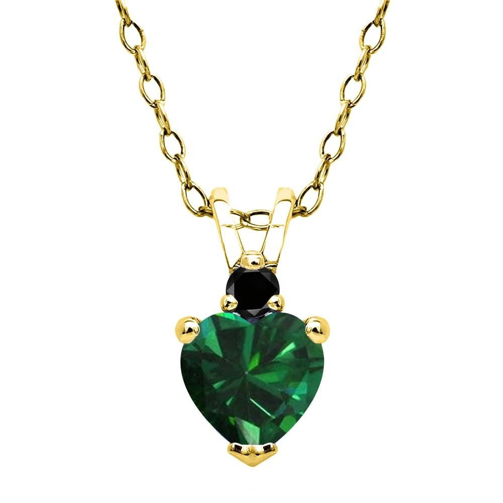 Simulated Emerald Black Diamond 18K Yellow Gold Plated Silver Pendant