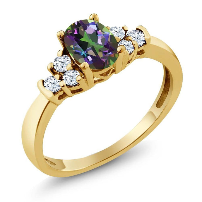 0.82 Ct Oval Green Mystic Topaz White Topaz 18K Yellow Gold Plated Silver Ring