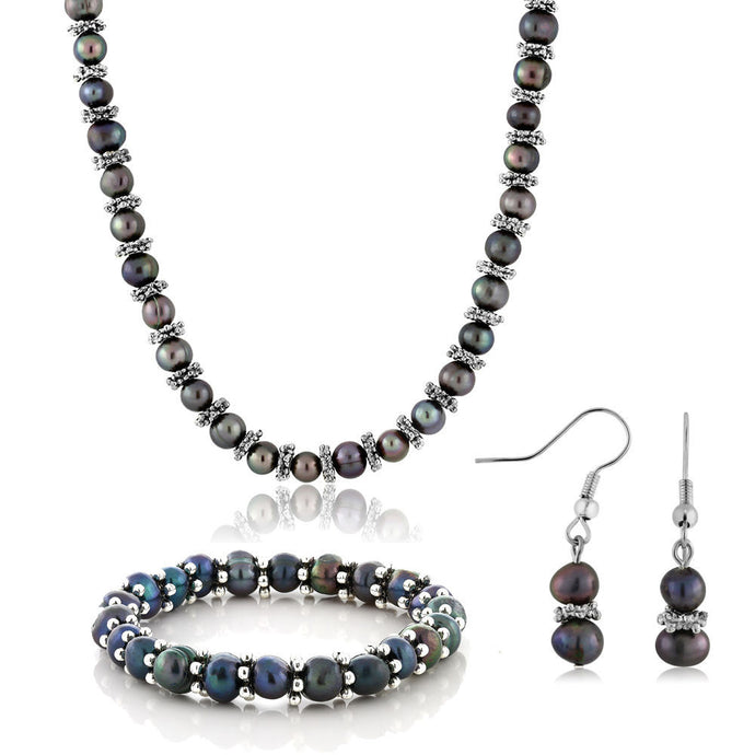 Black Cultured Freshwater Pearl Necklace Bracelet Earrings Set 18