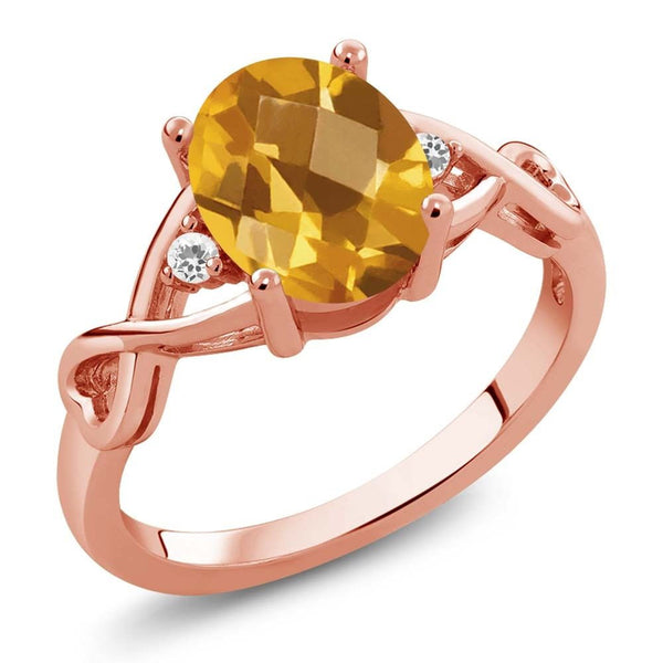 1.34 Ct Checkerboard Citrine and White Sapphire 18K Rose Gold Plated Silver Ring
