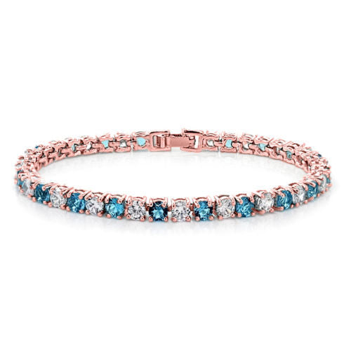 10.00ctw Round Blue And White Color CZ Rose Gold Plated Tennis Bracelet 7