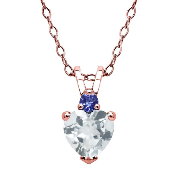 Sky Blue Aquamarine Blue Tanzanite 18K Rose Gold Plated Silver Pendant