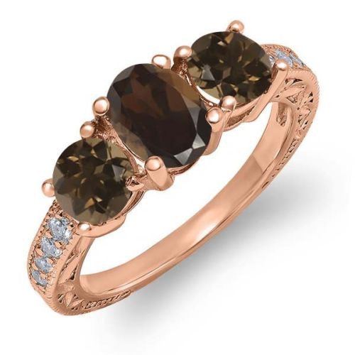 1.79 Ct Oval Brown Smoky Quartz 18K Rose Gold Plated Silver Ring