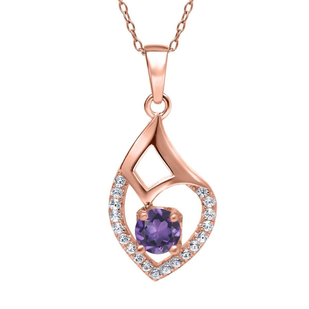 0.64 Ct Round Purple Amethyst 18K Rose Gold Plated Silver Pendant