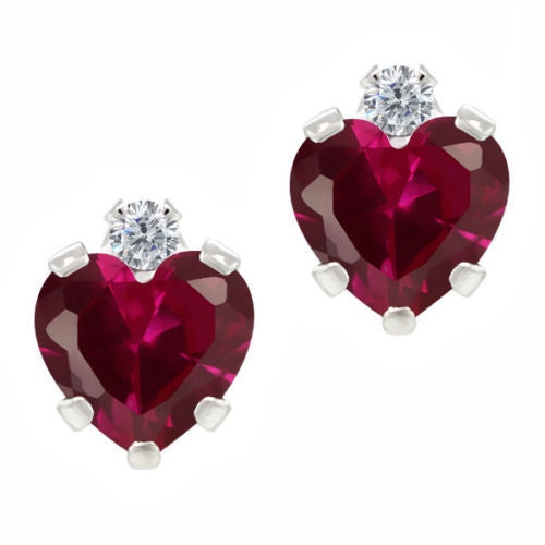 1.26 Ct Red Created Ruby White Created Sapphire 925 Sterling Silver Earrings