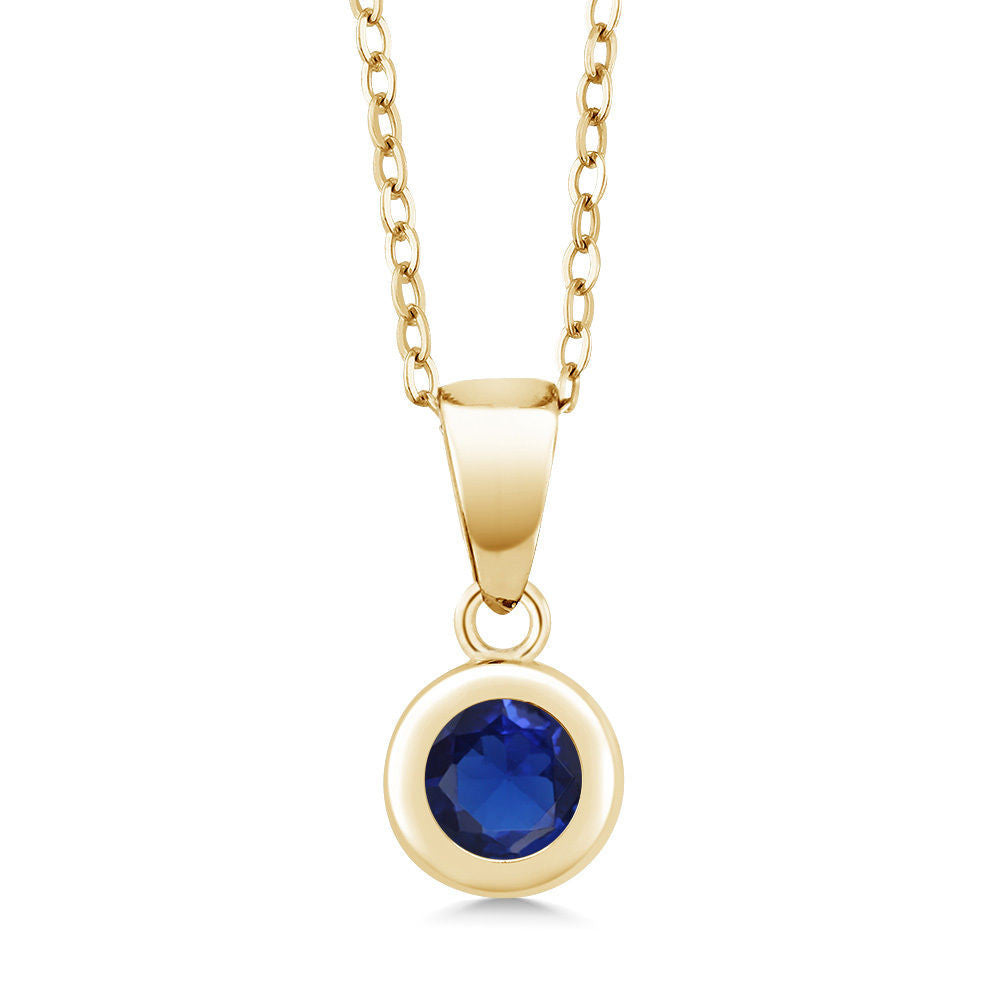 Blue Simulated Sapphire 18K Yellow Gold Plated Silver Pendant With Chain