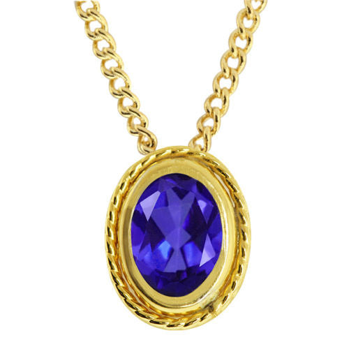 0.70 Ct Oval Cut Tanzanite Gold Plated 925 Silver Pendant with Silver