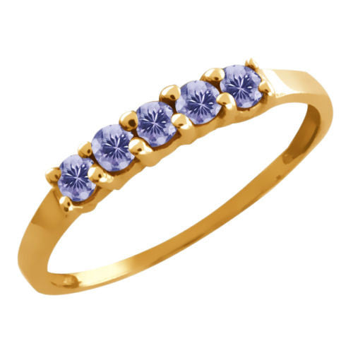 Round Tanzanite Gold Plated 925 Silver 5-Stone Anniversary Wedding Band