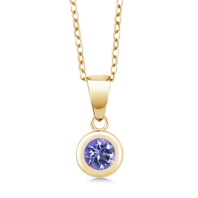 0.65 Ct Round Blue Mystic Topaz 18K Yellow Gold Plated Silver Pendant With Chain