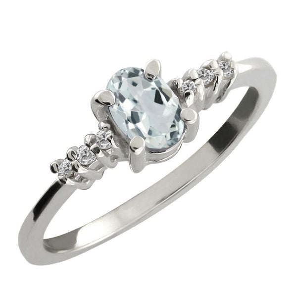 Oval Sky Blue Aquamarine White Diamond 925 Sterling Silver Ring