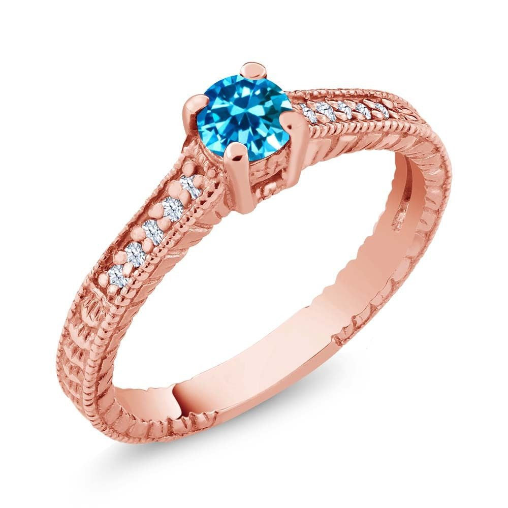 Blue Zirconia White Created Sapphire 18K Rose Gold Plated Silver Ring