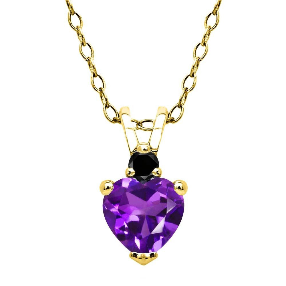 0.43 Ct Purple Amethyst Black Diamond 18K Yellow Gold Plated Silver Pendant