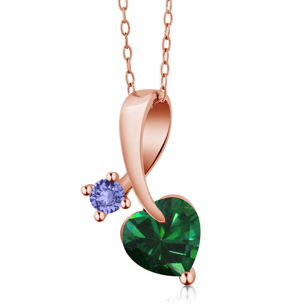 1.12Ct Simulated Emerald Blue Tanzanite 18K Rose Gold Plated Silver Pendant