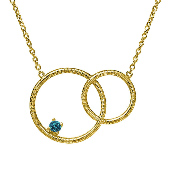 London Blue Topaz 18K Yellow Gold Plated Silver Necklace