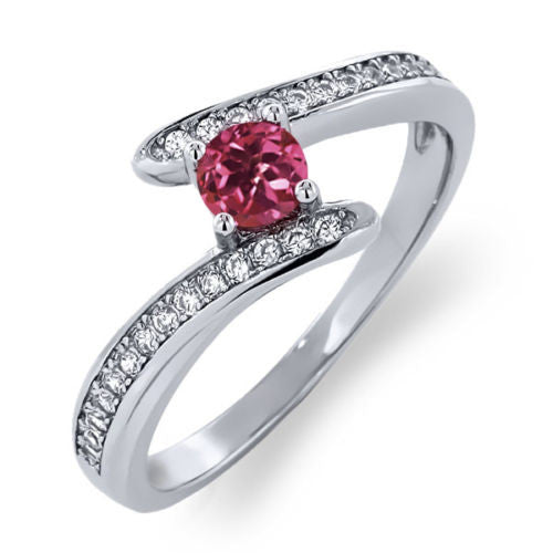 0.67 Ct Round Pink Tourmaline Platinum Plated 925 Sterling Silver Bypass Ring