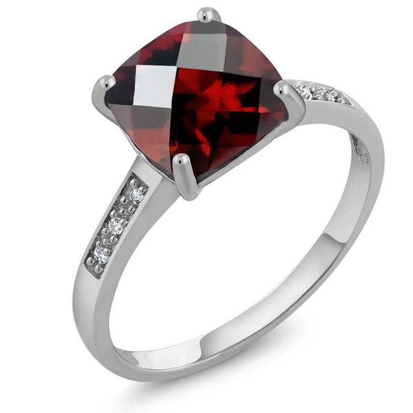 Women's Cushion Checkerboard Red Garnet 10K  White Gold Ring