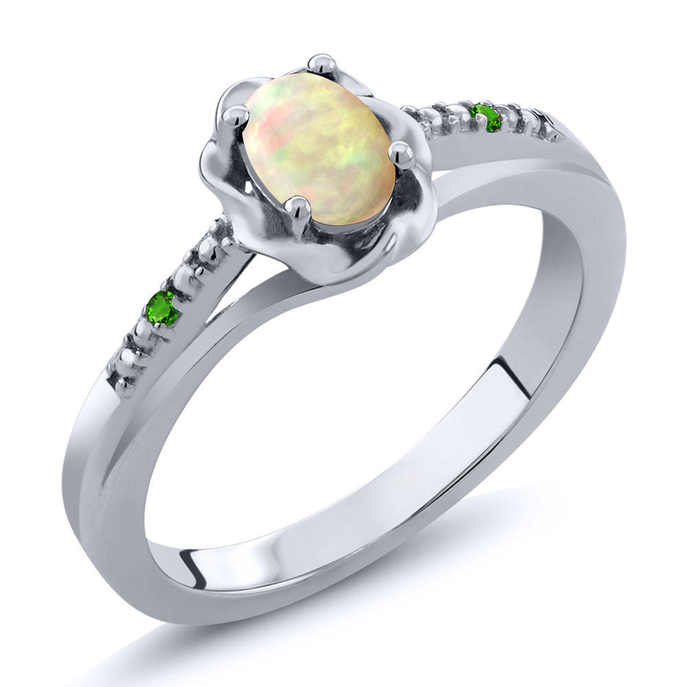 Cabochon White Ethiopian Opal Green Simulated Tsavorite 925 Silver Ring