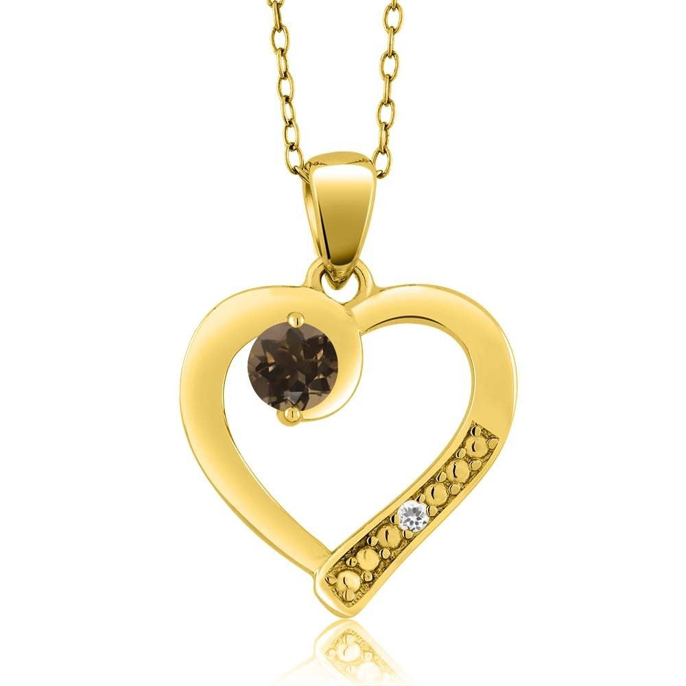 Brown Smoky Quartz White Sapphire 18K Yellow Gold Plated Silver Pendant