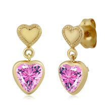 Pink Yellow Gold Plated  Earrings Made With Swarovski Zirconia