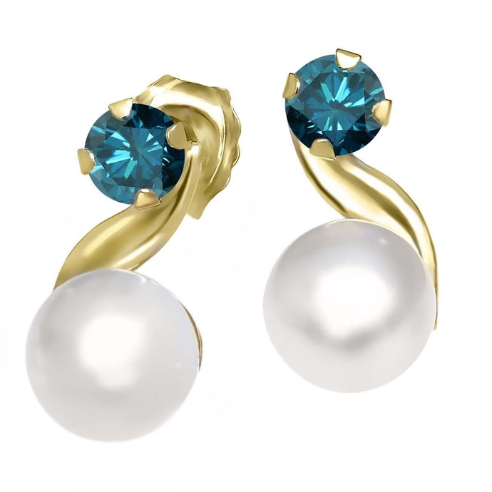 Blue Diamond & Cultured Freshwater Pearl 14K Yellow Gold Earrings