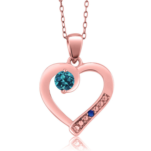 London Blue Topaz 18K Rose Gold Plated Silver Pendant