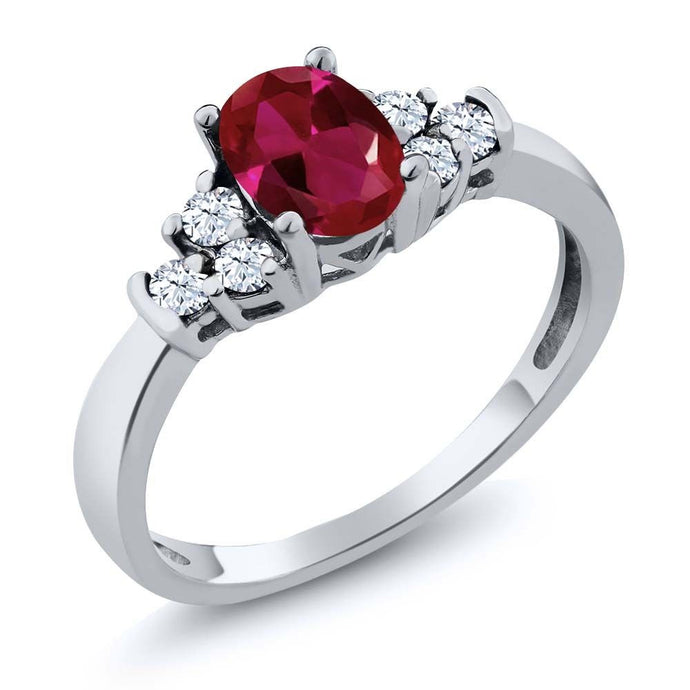 0.82 Ct Oval Red Created Ruby White Topaz 925 Sterling Silver Ring