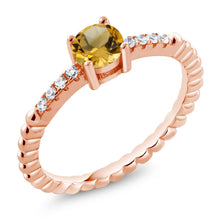 Yellow Citrine White Swarovski Zirconia 18K Rose Gold Plated Silver Ring