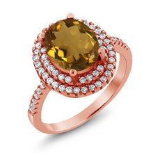 3.30 Ct Oval Whiskey Quartz 18K Rose Gold Plated Silver Ring