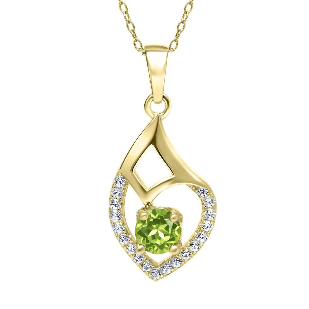 0.79 Ct Round Green Peridot 18K Yellow Gold Plated Silver Pendant