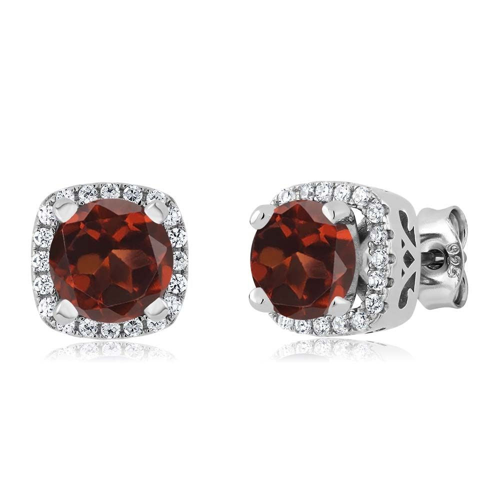2.48 Ct Round Red Garnet 925 Sterling Silver Earrings