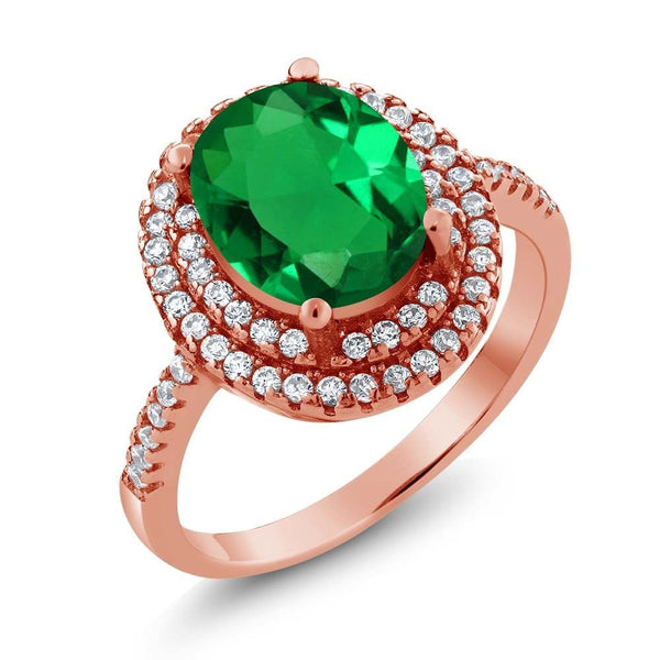 3.50 Ct Oval Green Simulated Emerald 18K Rose Gold Plated Silver Ring