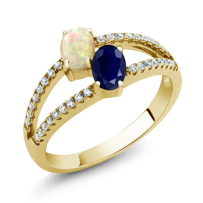 1.28Ct Cabochon White Ethiopian Opal Sapphire 18K Yellow Gold Plated Silver Ring