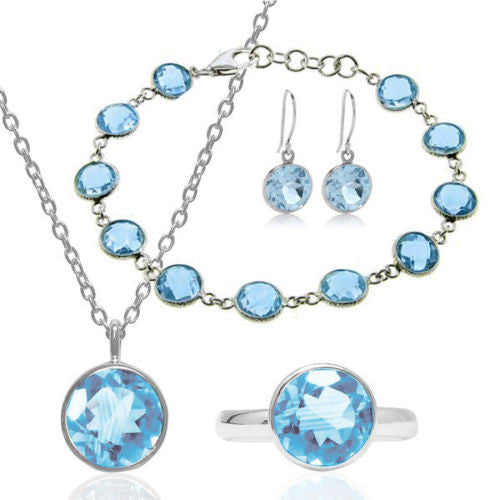 Beautiful 37.5ctw 4 Piece Blue Topaz 925 Silver Jewelry Set (Ring Size 7)