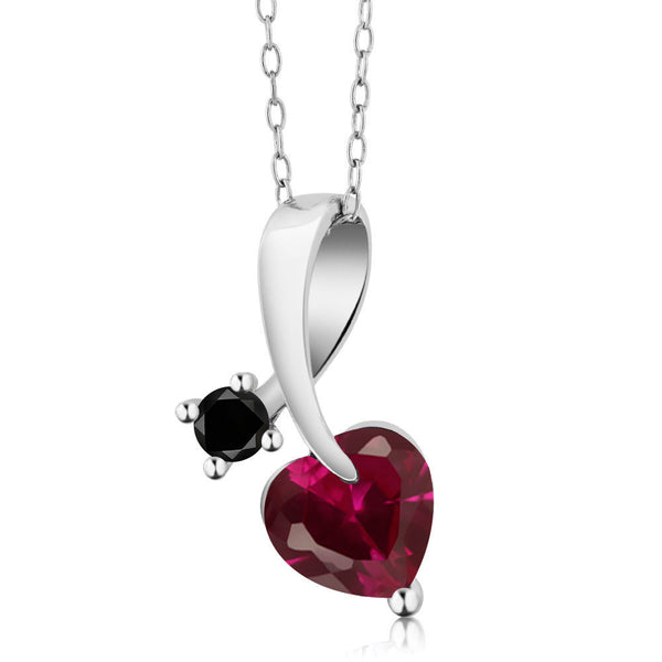 1.50 Ct Heart Shape Red Created Ruby Black Diamond 925 Sterling Silver Pendant