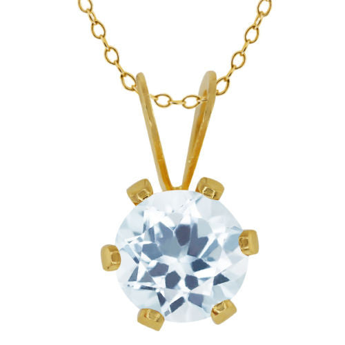 0.75 Ct Round Shape Sky Blue Aquamarine Yellow Gold Plated Brass Pendant