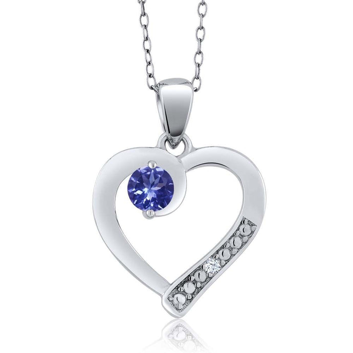 Blue Tanzanite White Created Sapphire 925 Sterling Silver Pendant
