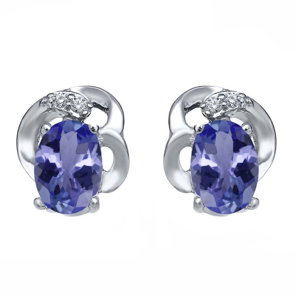 0.95 Ct Oval Blue Tanzanite 925 Sterling Silver Earrings