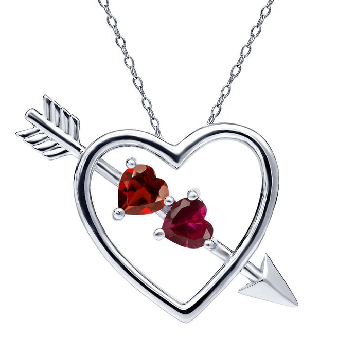 1.15 Ct Red Garnet Red Created Ruby 925 Sterling Silver Heart and Arrow Pendant