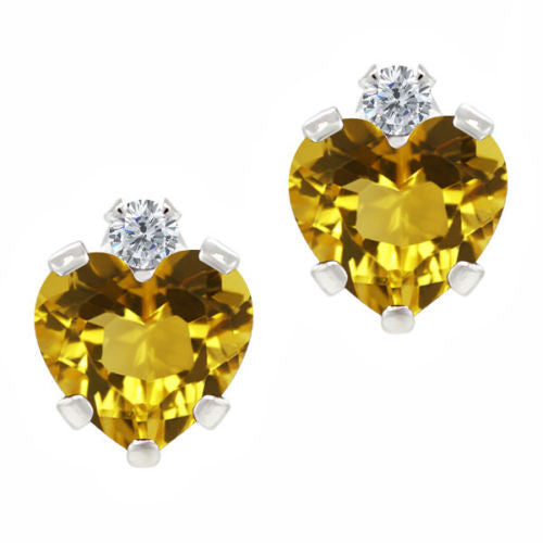 0.98 Ct Yellow Citrine White Created Sapphire 925 Sterling Silver Earrings