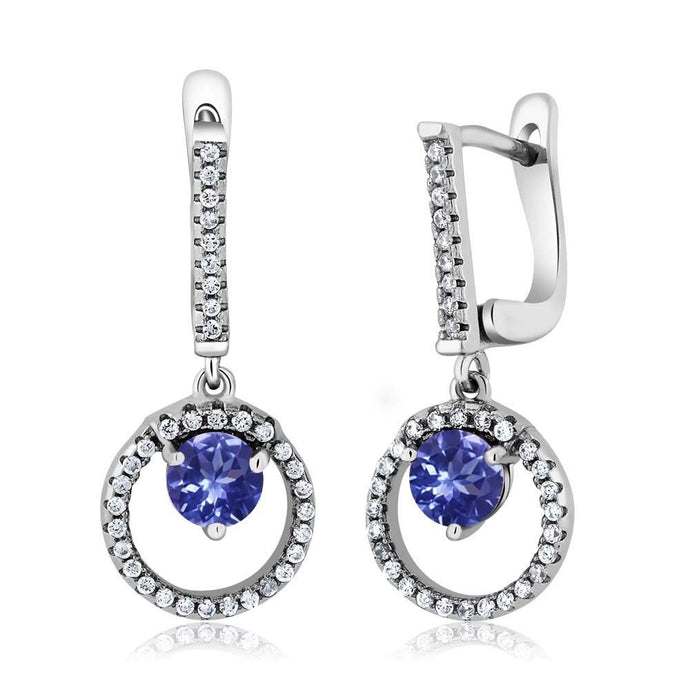 2.12 Ct Round Blue Tanzanite 925 Sterling Silver Earrings